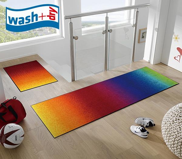 キッチンマット wash+dry J011C Rainbow 60×180cm 柄物 おしゃれ 滑り止めラバーつき(代引不可)【送料無料】