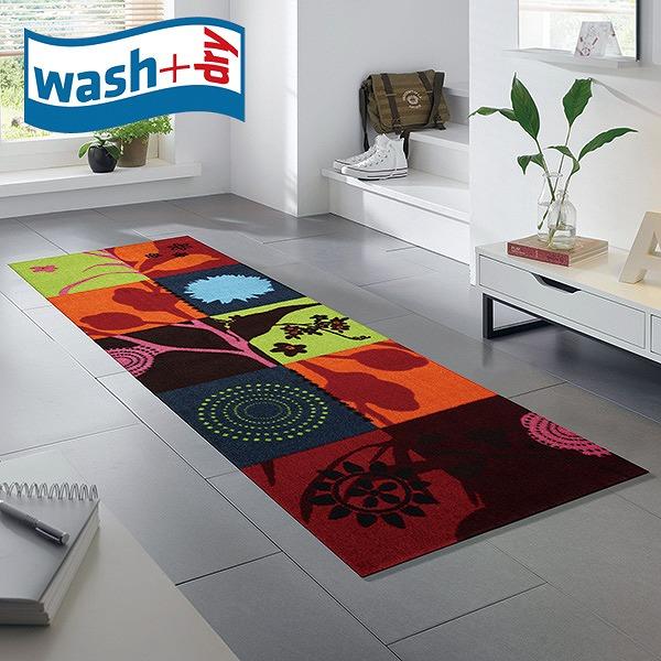 キッチンマット wash+dry K001C Summer Breeze 60×180cm 柄物 おしゃれ 滑り止めラバーつき(代引不可)【送料無料】