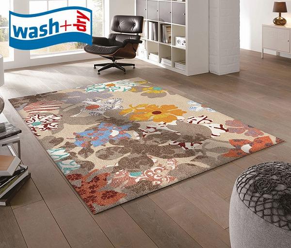 ラグマット wash+dry K011I Boogie 110×175cm 柄物 おしゃれ 滑り止めラバーつき(代引不可)【送料無料】【S1】