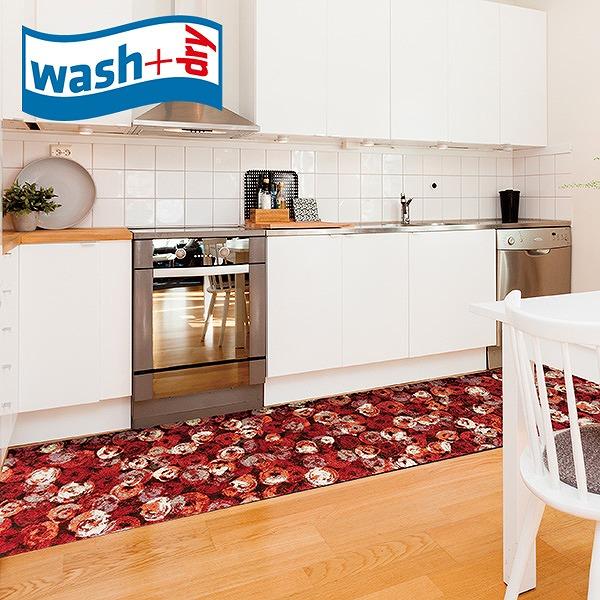 キッチンマット wash+dry K013F Punilla red 60×260cm 柄物 おしゃれ 滑り止めラバーつき(代引不可)【送料無料】