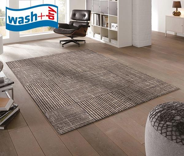 ラグマット wash+dry K017I Canvas 110×175cm 柄物 おしゃれ 滑り止めラバーつき(代引不可)【送料無料】