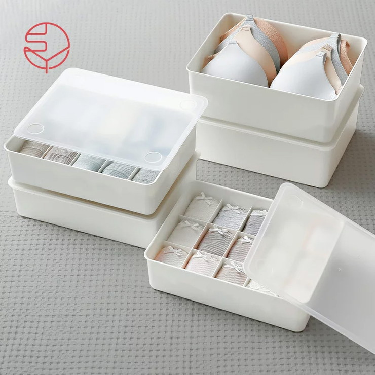 送料無料 蓋付下着収納 15分割 収納 収納ボックス 蓋付き フタ 衣類 モデル着用&注目アイテム 整理 代引不可 シンプル 卸売り 整頓 仕切りボックス ホワイト 仕切り