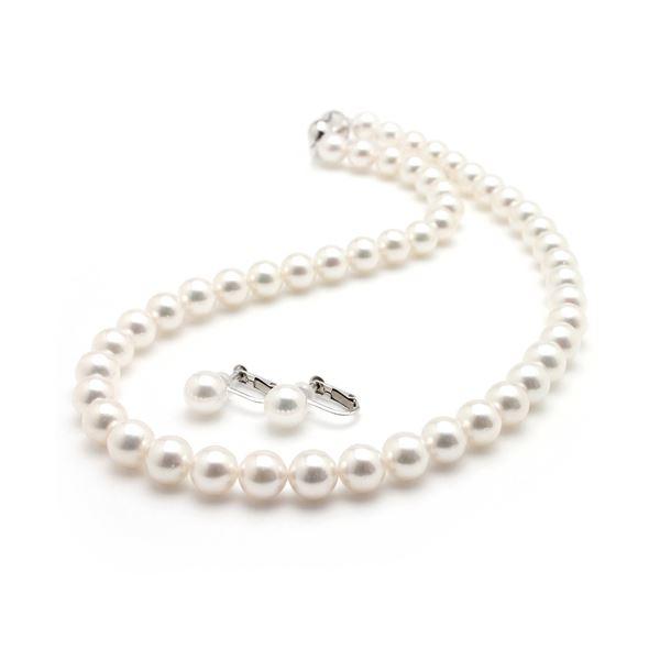 【鑑別書付】あこや真珠 オーロラ花珠真珠ネックレスセット パールネックレス イヤリングセット 9.0‐9.5mm珠