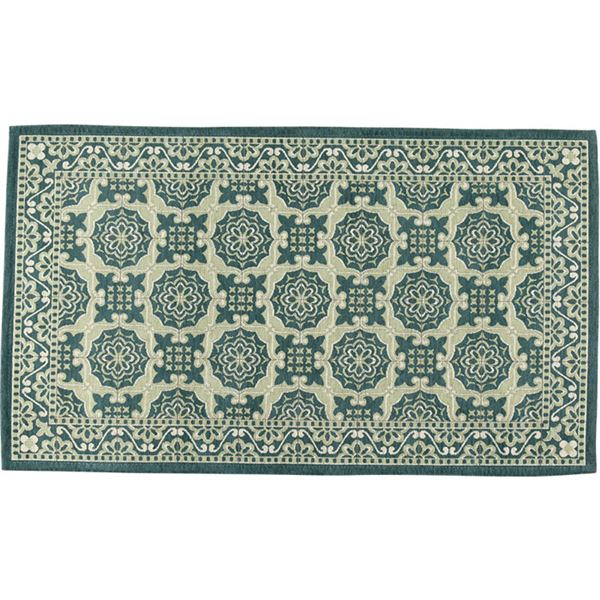 ヨーロピアンタイル調ゴブランシェニールラグ・マット(リブラ)(カーペット・絨毯) 【約200×200cm】 グリーン