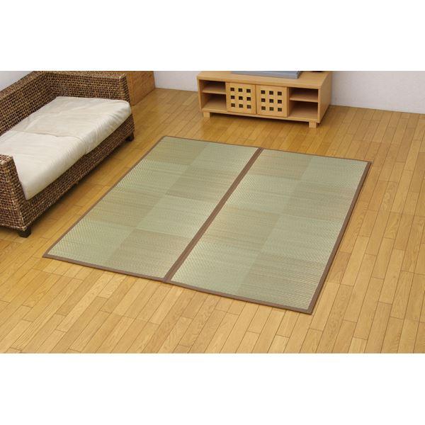 純国産 い草花ござ 『STノア』 ブラウン 江戸間8畳(約348×352cm)(裏:ソフトテック15mm)