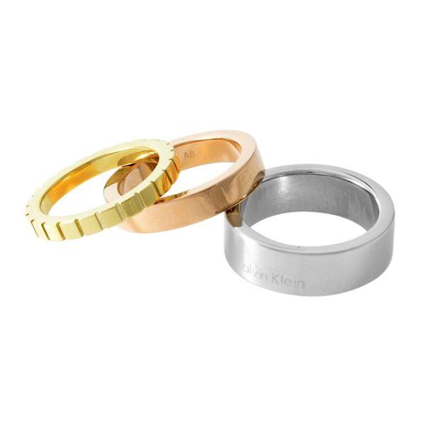 Calvin Klein (カルバンクライン) KJ5MDR300106 トリコロール 3連 リング 指輪 3本セット 6号 (日本サイズ11号相当) WONDER TRICO【代引不可】