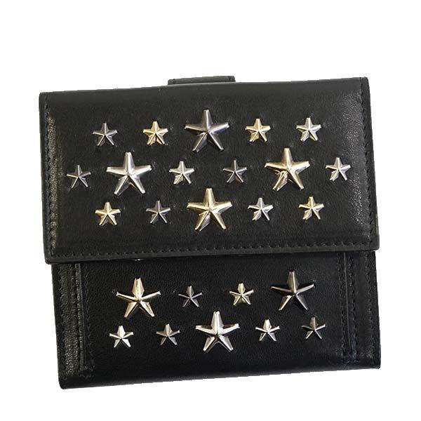 Jimmy Choo(ジミーチュウ) 二つ折り財布(小銭入れ付) FRIDA BLACK/METALLIC MIX