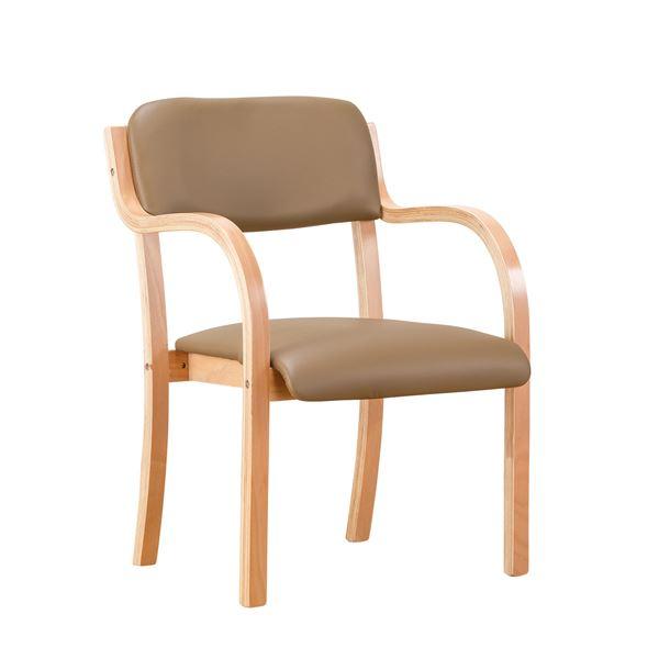 立ち座りサポートチェア/椅子 【ブラウン 2脚組】 肘付き スタッキング可 張地:合成皮革/合皮 〔業務用 家庭用 オフィス〕【代引不可】