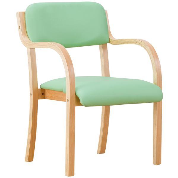 立ち座りサポートチェア/椅子 【グリーン 2脚組】 肘付き スタッキング可 張地:合成皮革/合皮 〔業務用 家庭用 オフィス〕【代引不可】