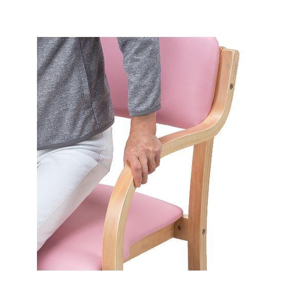 立ち座りサポートチェア/椅子 【ピンク 2脚組】 肘付き スタッキング可 張地:合成皮革/合皮 〔業務用 家庭用 オフィス〕【代引不可】