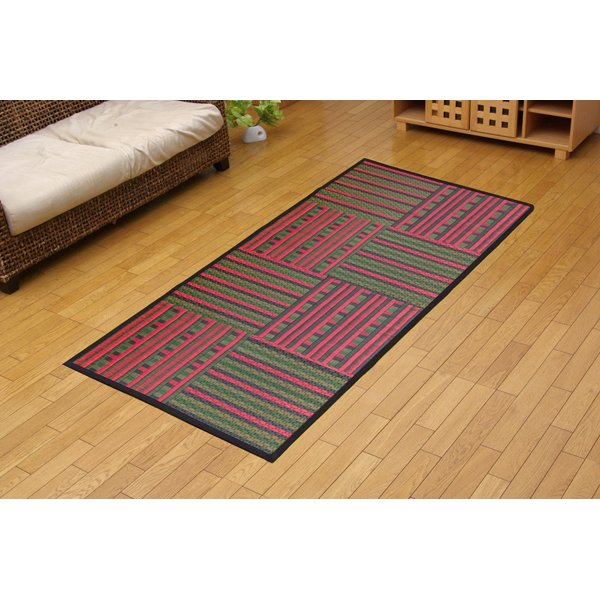 純国産 柳川段通 四重織 い草ラグカーペット 『ラスター』 レッド(赤) 約191×250cm