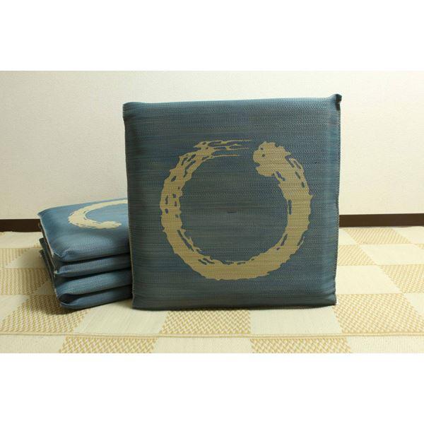 純国産 捺染返し い草座布団 『大関 5枚組』 ブルー 約55×55cm×5P