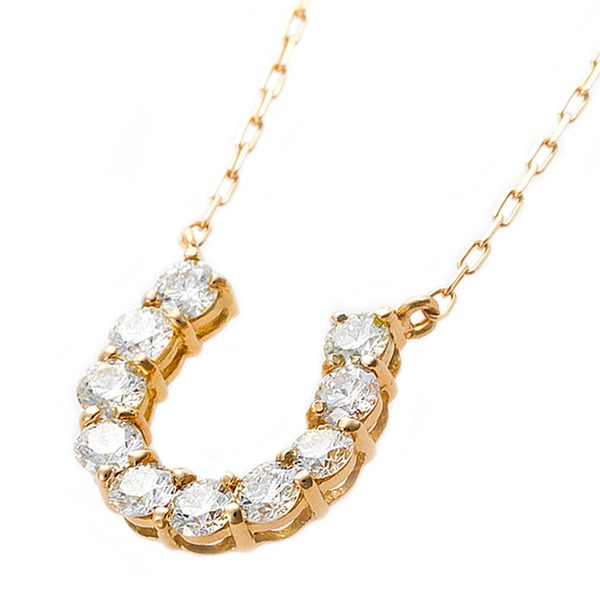 【鑑別書付】K18イエローゴールド 天然ダイヤモンドネックレス ダイヤ0.5ctネックレス 馬蹄モチーフ