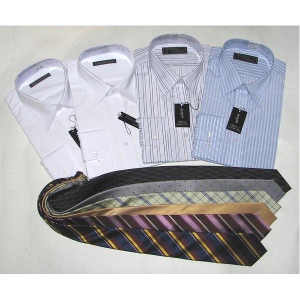 メンズビジネス10点福袋(ワイシャツ4枚&ネクタイ6点) 1週間コーディネート Lサイズ 【10点お得セット】