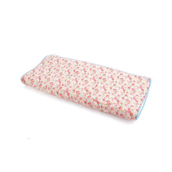 超軽量極薄敷布団ルナエアー ダブル 花柄ブルー 日本製
