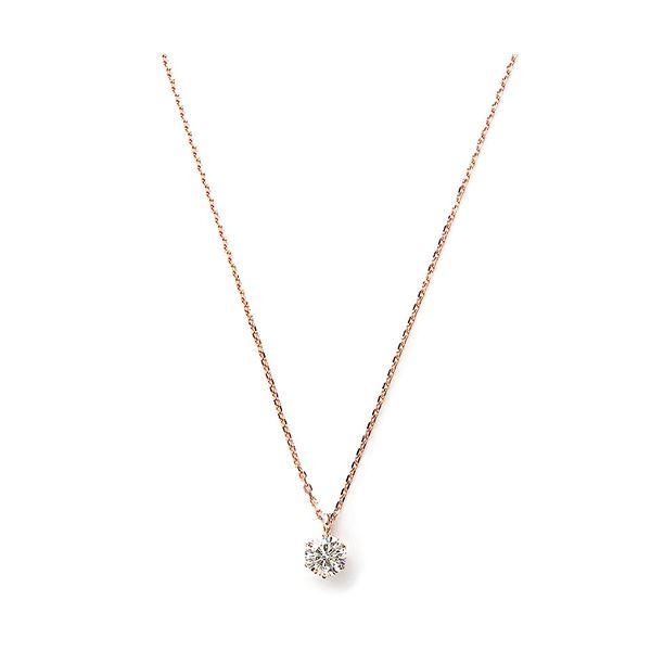 K18ピンクゴールド 天然ダイヤモンドネックレス ダイヤ0.3CTネックレス