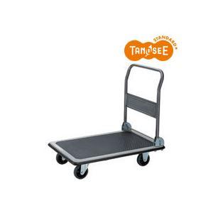 (まとめ)TANOSEE スチール台車 300kg荷重 黒 3台