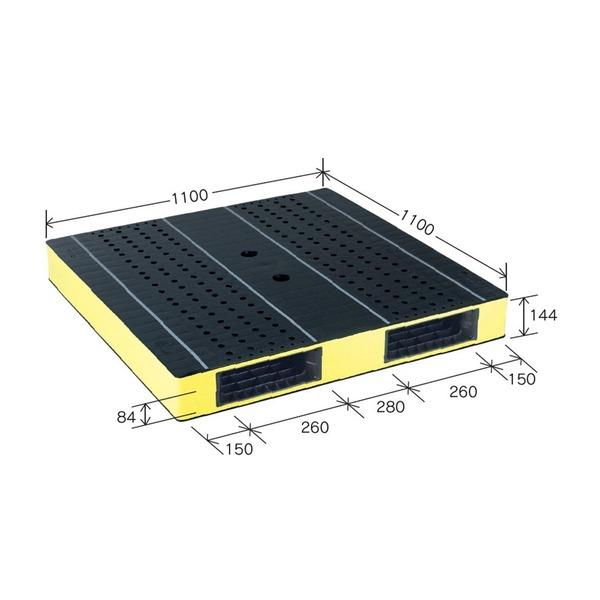 岐阜プラスチック工業 カラープラスチックパレット HB-R2・1111SC ブラック/イエロー 両面使用 1100×1100mm 自動倉庫対応【代引不可】