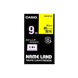 (業務用50セット) カシオ CASIO 蛍光テープ XR-9FYW 黄に黒文字 9mm ×50セット