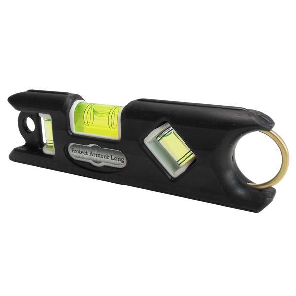 (業務用10個セット) KOD プロテクトアーマー ロング水平器/レベル 【ブラック】 一体型成型 PALS-BK