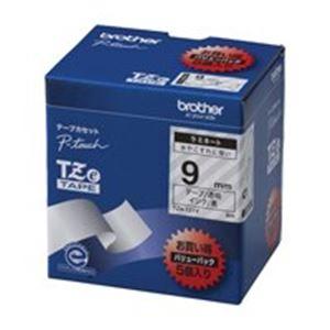 (業務用5セット) ブラザー工業(BROTHER) 文字テープ TZe-121V透明に黒文字 9mm 5個 【×5セット】