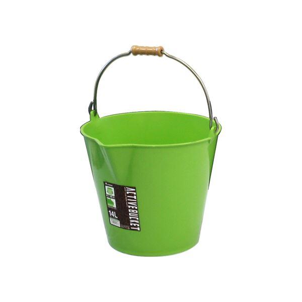 【20セット】 ポリバケツ/アクティブバケツ 【14L】 ライトグリーン 〔掃除用品 ガーデニング用品 園芸〕【代引不可】
