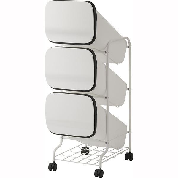 スタンド式 ダストボックス/ゴミ箱 【ホワイト 19L×3段】 高さ97cm キャスター付き 『スムース』【代引不可】