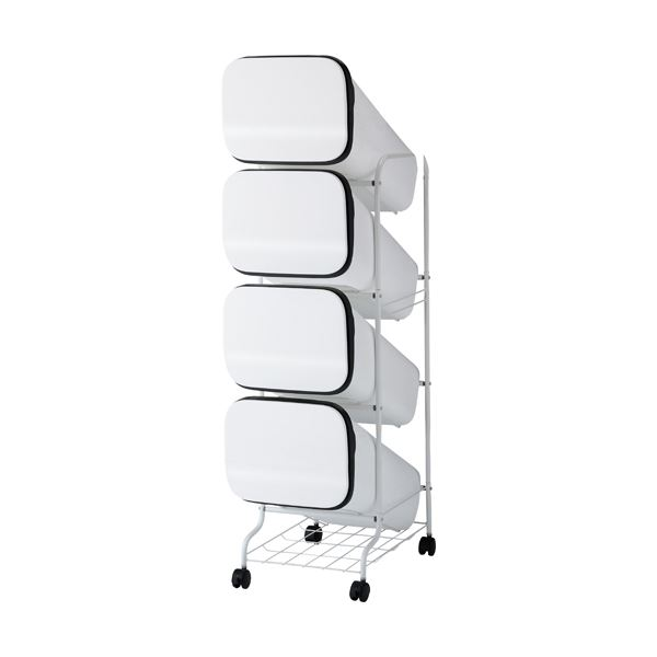 スタンド式 ダストボックス/ゴミ箱 【ホワイト 19L×4段】 高さ122cm キャスター付き 『スムース』【代引不可】