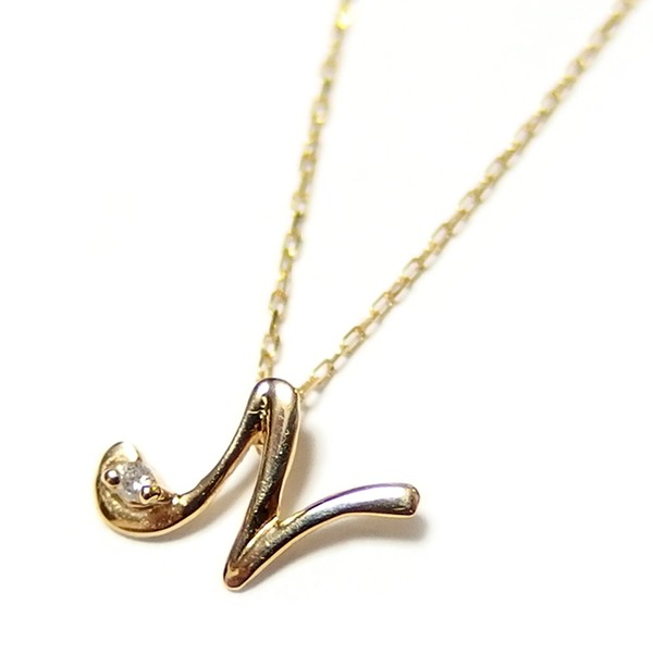 イニシャル ネックレス ダイヤモンド ネックレス 一粒 0.01ct K18 ゴールド 文字 N ダイヤネックレス ペンダント