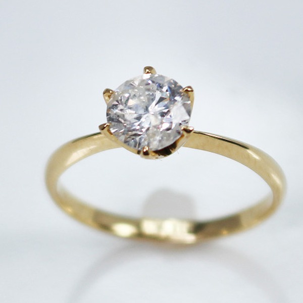 K18イエローゴールド 1.0ct一粒ダイヤリング 指輪 21号