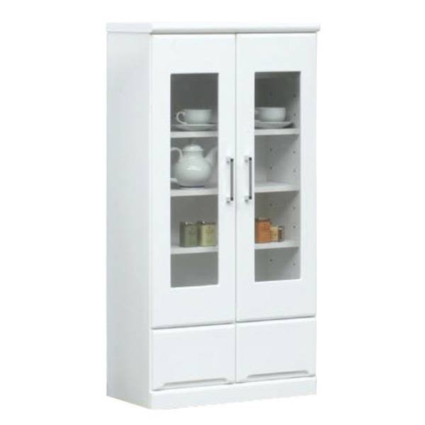 ミドルキャビネット(リビングボード/収納棚) 【幅60cm】 可動棚付き 日本製 ホワイト(白) 【完成品】【代引不可】