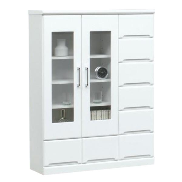 ミドルキャビネット(リビングボード/収納棚) 【幅90cm】 可動棚付き 日本製 ホワイト(白) 【完成品】【代引不可】