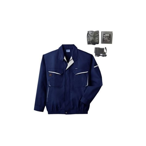 空調服 綿・ポリ混紡長袖作業着 BK-500N 【カラー:ネイビー サイズ:M】 リチウムバッテリーセット