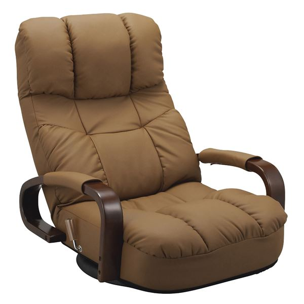 ヘッドサポート座椅子 合成皮革使用 肘掛け 無段階リクライニング/360度回転/ハイバック ブラウン 【完成品】【代引不可】【送料無料】