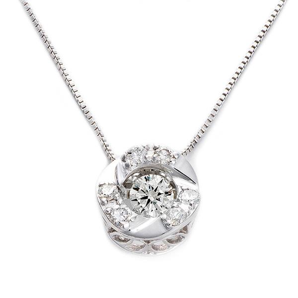 ダイヤモンドペンダント/ネックレス 一粒 K18 ホワイトゴールド 0.2ct ダンシングストーン ダイヤモンドスウィングネックレス 揺れるダイヤが輝きを増す☆ サークルモチーフ 揺れる ダイヤ