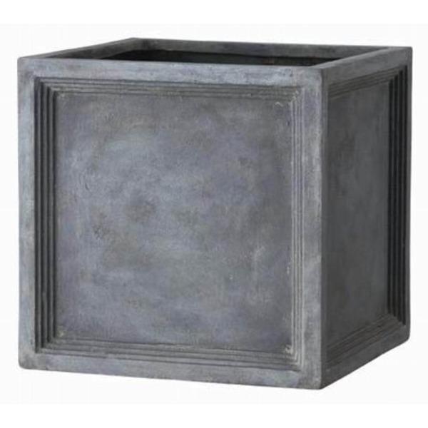 軽量植木鉢/プランター 【Pキューブ型 グレー 幅39cm】 穴有 ファイバー製 『LLブリティッシュ』