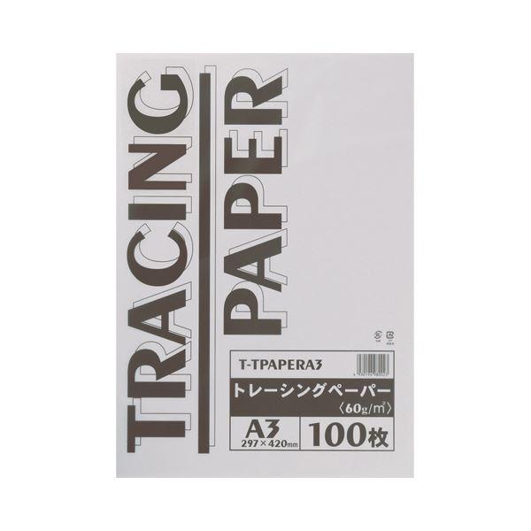 (まとめ) TANOSEE トレーシングペーパー60g A3 1パック(100枚) 【×5セット】