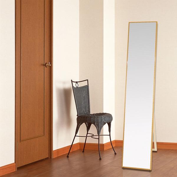 シンプル スタンドミラー/全身姿見鏡 【ナチュラル】 幅32cm 飛散防止加工【代引不可】
