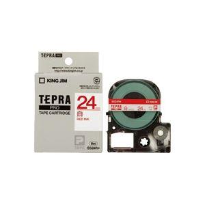 (業務用30セット) キングジム テプラPROテープ SS24R 白に赤文字 24mm ×30セット
