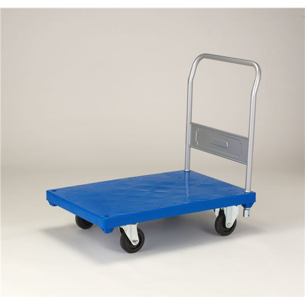 リスキャリー/台車 【90・60(大) 固定型 5インチ ゴム車】 自在×2 固定×2 ブルー【代引不可】