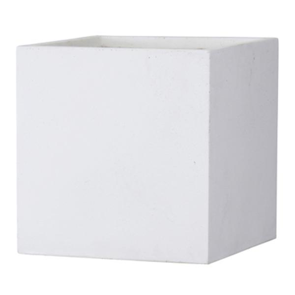 ファイバークレイ製 軽量 大型植木鉢 バスク キューブ 50cm ホワイト【送料無料】