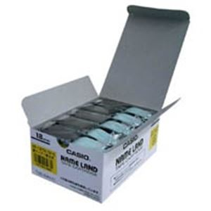 (業務用5セット) カシオ計算機(CASIO) テープ XR-18YW-5P-E 黄に黒文字 18mm 5個 【×5セット】