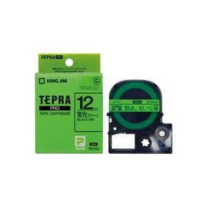 (業務用50セット) キングジム テプラPROテープSK12G 蛍光緑に黒文字 12mm ×50セット