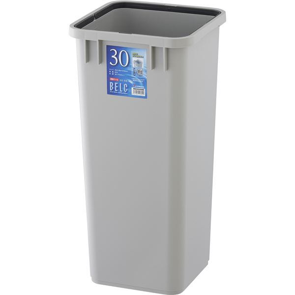 【12セット】 ダストボックス/ゴミ箱 【30S 本体】 ライトグレー 角型 『ベルク』 〔家庭用品 掃除用品 業務用〕【代引不可】