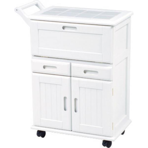 キッチンワゴン キャスター付き 木製 タイル張り天板 MW-3709 白(ホワイト) 【代引不可】