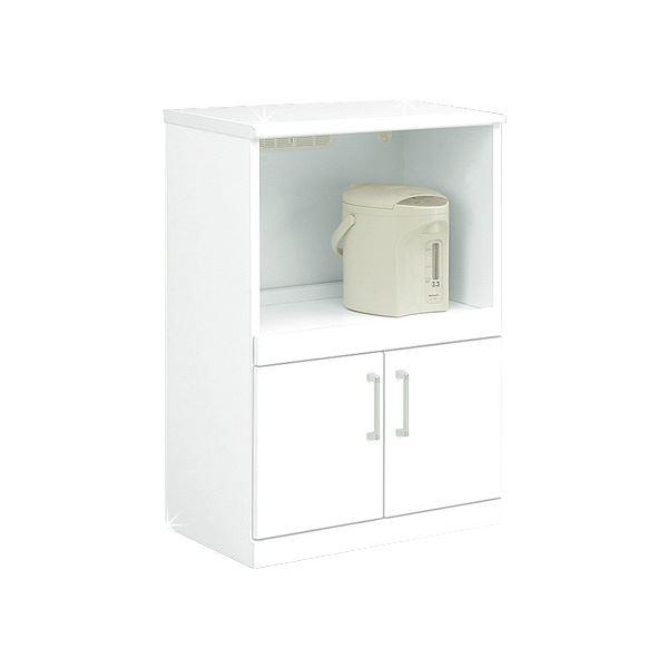キッチンカウンター 幅60cm 二口コンセント/可動棚/キャスター付き 日本製 ホワイト(白) 【完成品】【代引不可】