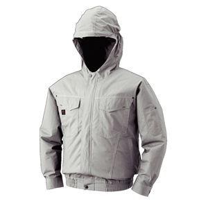 空調服 フード付綿薄手長袖ブルゾン リチウムバッテリーセット BM-500FC06S6 シルバー 4L