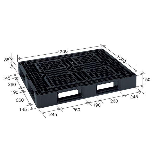 樹脂パレット/軽量パレット 【JL-D4・1210G】 ブラック 材質:再生PP 安全設計【代引不可】