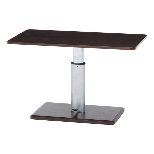 北欧風 昇降テーブル/センターテーブル 【ブラウン×シルバー】 幅90cm スチールフレーム【代引不可】