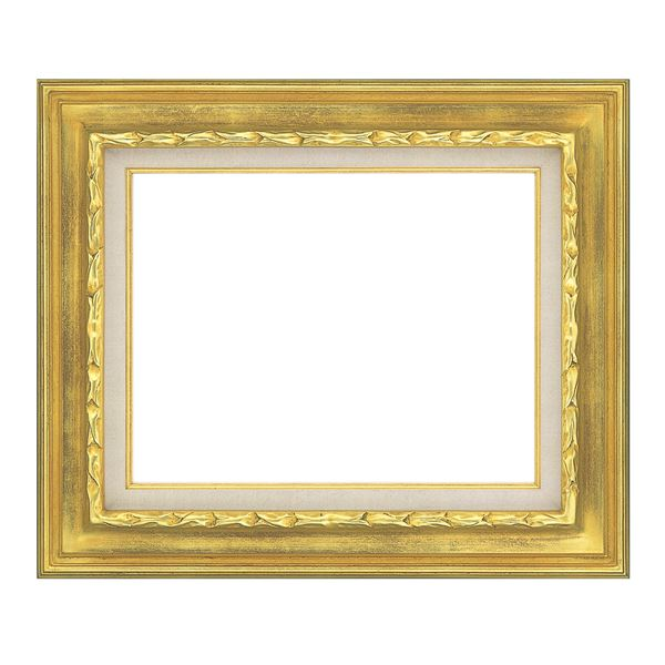 豪華仕様 油絵額縁/油彩額縁 【F8 ゴールド】 縦58.6cm×横67.4cm×高さ7.5cm 表面カバー:ガラス 黄袋 吊金具付き【int_d11】